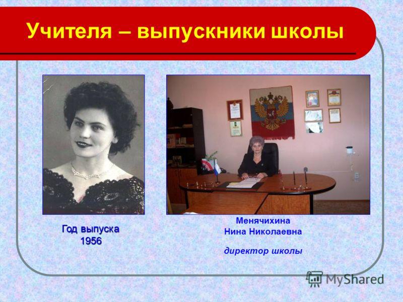 Учителя – выпускники школы Менячихина Нина Николаевна директор школы Год выпуска 1956