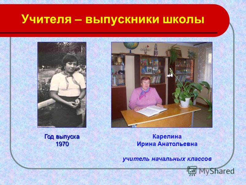 Учителя – выпускники школы Карелина Ирина Анатольевна учитель начальных классов Год выпуска 1970