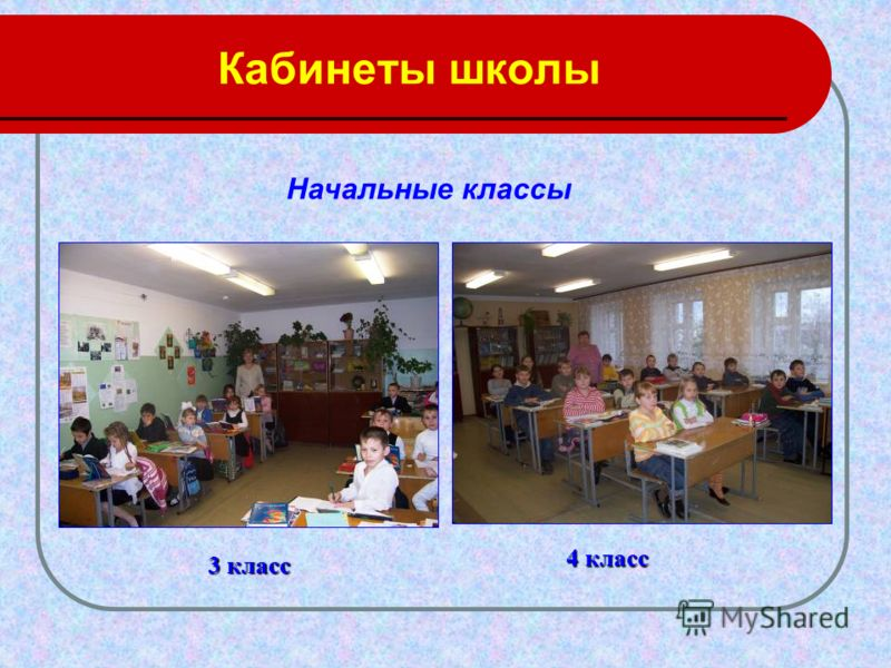 Кабинеты школы 3 класс 4 класс Начальные классы