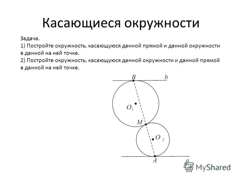 Задача. 1) Постройте окружность, касающуюся данной прямой и данной окружности в данной на ней точке. 2) Постройте окружность, касающуюся данной окружности и данной прямой в данной на ней точке.