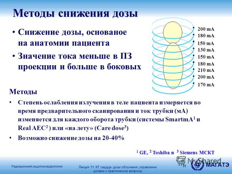 Радиационная защита в кардиологии МАГАТЭ 28 Методы снижения дозы Снижение дозы, основаное на анатомии пациента Значение тока меньше в ПЗ проекции и больше в боковых 1 GE, 2 Toshiba и 3 Siemens МСКТ 200 mA 150 mA 130 mA 150 mA 180 mA 210 mA 200 mA 170