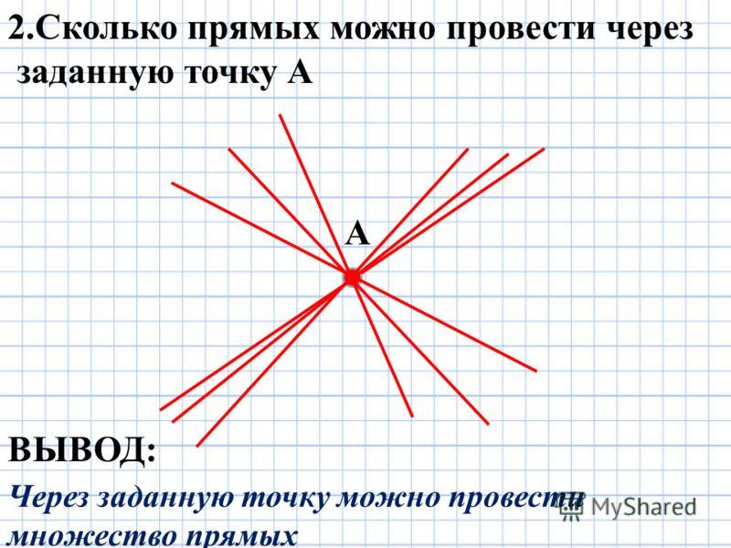 А 2.Сколько прямых можно провести через заданную точку А ВЫВОД: Через заданную точку можно провести множество прямых
