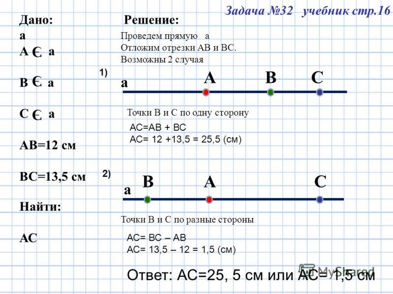Задача 32 учебник стр.16 Дано: а А а В а С а АВ=12 см ВС=13,5 см Э Э Э Э Найти: АС Решение: Проведем прямую а Отложим отрезки АВ и ВС. Возможны 2 случая а а А А СВ ВС Точки В и С по одну сторону Точки В и С по разные стороны АС=АВ + ВС АС= 12 +13,5 =