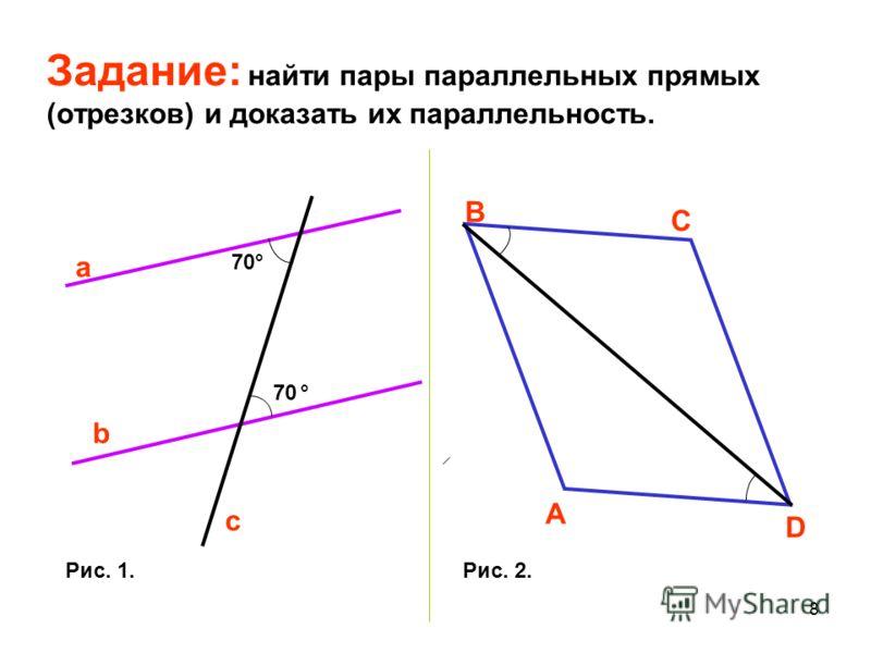 7 Доказать признак параллельности двух прямых, связанный с накрест лежащими углами. 1 2 a b A B 15 3 62 a b H H A B 1 а) б) 4 О