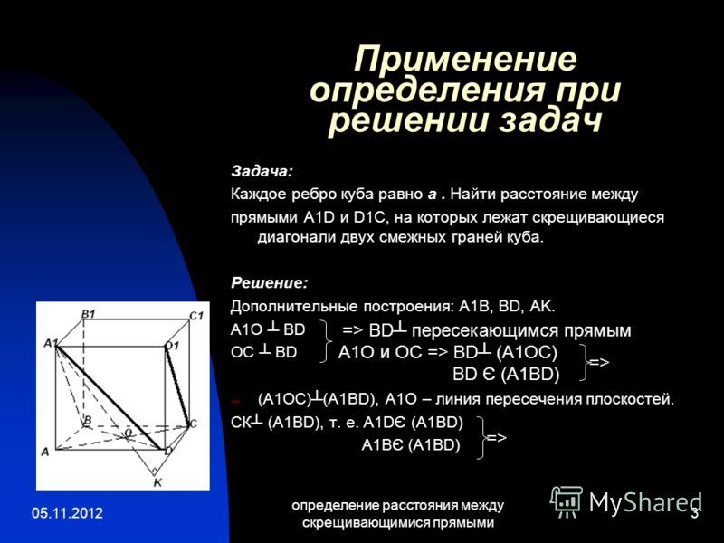 05.11.2012 определение расстояния между скрещивающимися прямыми 3 Применение определения при решении задач Задача: Каждое ребро куба равно а. Найти расстояние между прямыми A1D и D1C, на которых лежат скрещивающиеся диагонали двух смежных граней куба