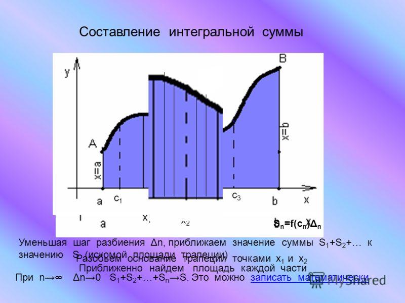 Составление интегральной суммы Разобьем основание трапеции точками x 1 и х 2 х1х1 х2х2 Приближенно найдем площадь каждой части c1c1 c2c2 c3c3 S n =f(c n )Δ n Уменьшая шаг разбиения Δn, приближаем значение суммы S 1 +S 2 +… к значению S (искомой площа