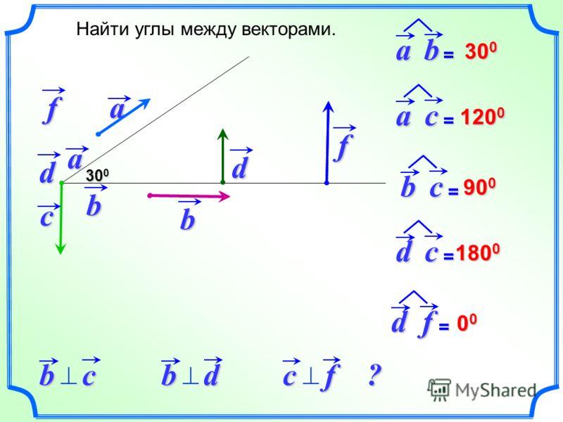 a d Найти углы между векторами.b 30 0 ab = c f ac = bc = df = dc = 120 0 90 0 180 0 00000000a b d f bc bd сf ?