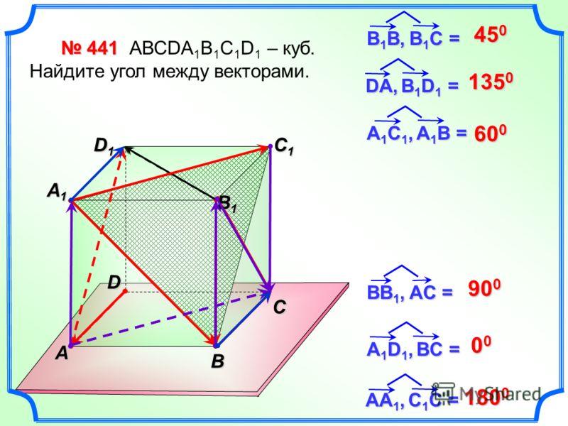 441 441 АВСDA 1 B 1 C 1 D 1 – куб. Найдите угол между векторами. 45 0 BB 1, AC = 135 0 600600600600 90 0 00000000 C В 1 В, В 1 С = DА, B 1 D 1 = А1C1, A1B =А1C1, A1B =А1C1, A1B =А1C1, A1B = А 1 D 1, BC = AА1, C1C =AА1, C1C =AА1, C1C =AА1, C1C = B A D