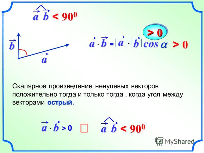 ab= a bcosa b острый. Скалярное произведение ненулевых векторов положительно тогда и только тогда, когда угол между векторами острый.ab > 0> 0> 0> 0 > 0 ab < 90 0 ab
