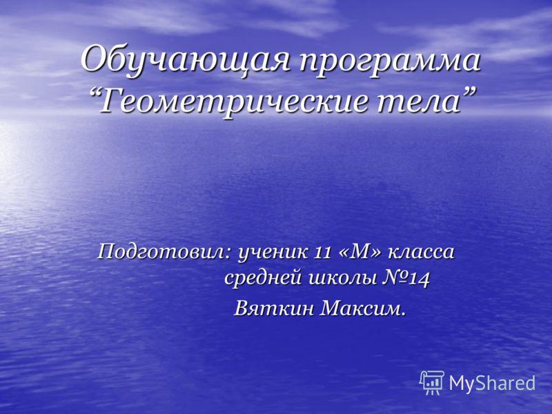 Обучающая программаГеометрические тела Подготовил: ученик 11 «М» класса средней школы 14 Вяткин Максим. Вяткин Максим.