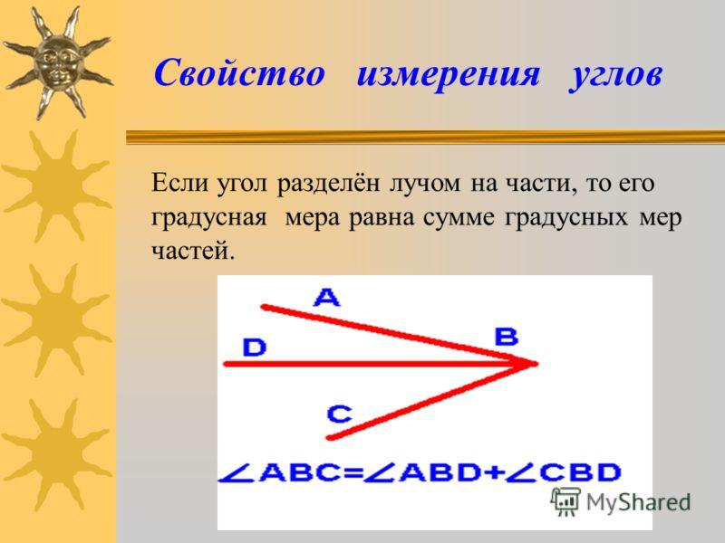 Свойство измерения углов Если угол разделён лучом на части, то его градусная мера равна сумме градусных мер частей.
