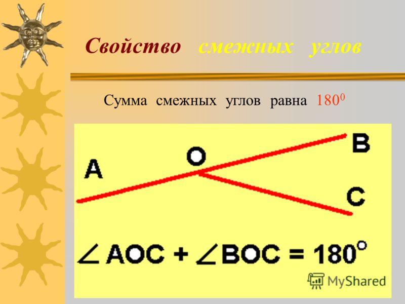 Свойство смежных углов Сумма смежных углов равна 180 0