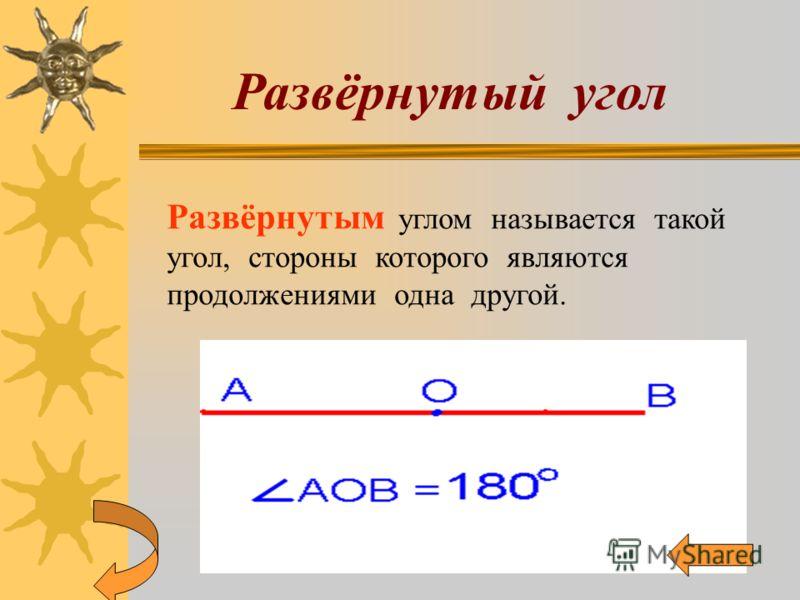 Развёрнутый угол Развёрнутым углом называется такой угол, стороны которого являются продолжениями одна другой.