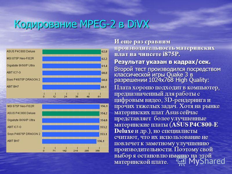 Кодирование MPEG-2 в DiVX И еще раз сравним производительность материнских плат на чипсете i875P. Результат указан в кадрах/сек. Второй тест производился посредством классической игры Quake 3 в разрешении 1024x768 High Quality: Плата хорошо подходит