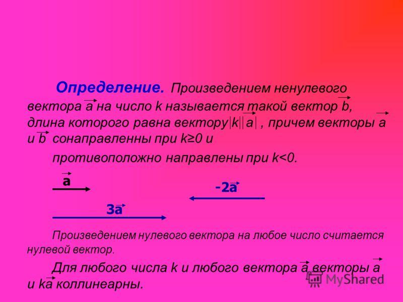 Определение. Произведением ненулевого вектора а на число k называется такой вектор b, длина которого равна вектору k а, причем векторы а и b сонаправленны при k0 и противоположно направлены при k