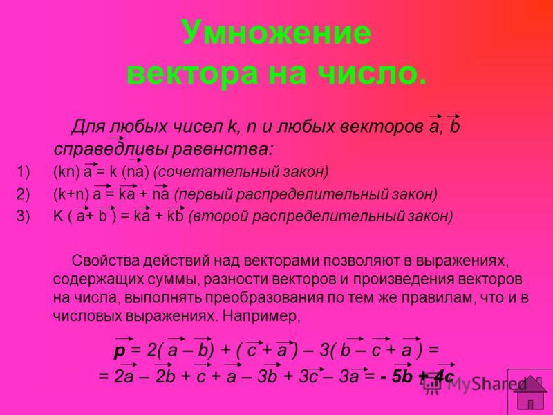 Умножение вектора на число. Для любых чисел k, n и любых векторов а, b справедливы равенства: 1)(kn) а = k (na) (сочетательный закон) 2)(k+n) а = kа + na (первый распределительный закон) 3)K ( а+ b ) = kа + kb (второй распределительный закон) Свойств