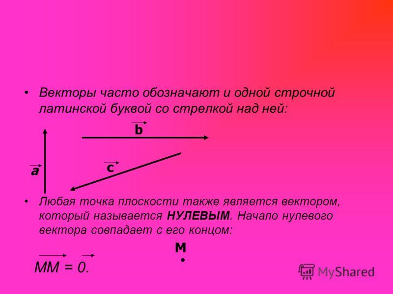 Векторы часто обозначают и одной строчной латинской буквой со стрелкой над ней: Любая точка плоскости также является вектором, который называется НУЛЕВЫМ. Начало нулевого вектора совпадает с его концом: ММ = 0. a b c М