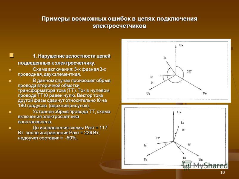 10 Примеры возможных ошибок в цепях подключения электросчетчиков 1. Нарушение целостности цепей подведенных к электросчетчику. 1. Нарушение целостности цепей подведенных к электросчетчику. Схема включения: 3-х фазная 3-х проводная, двухэлементная. Сх