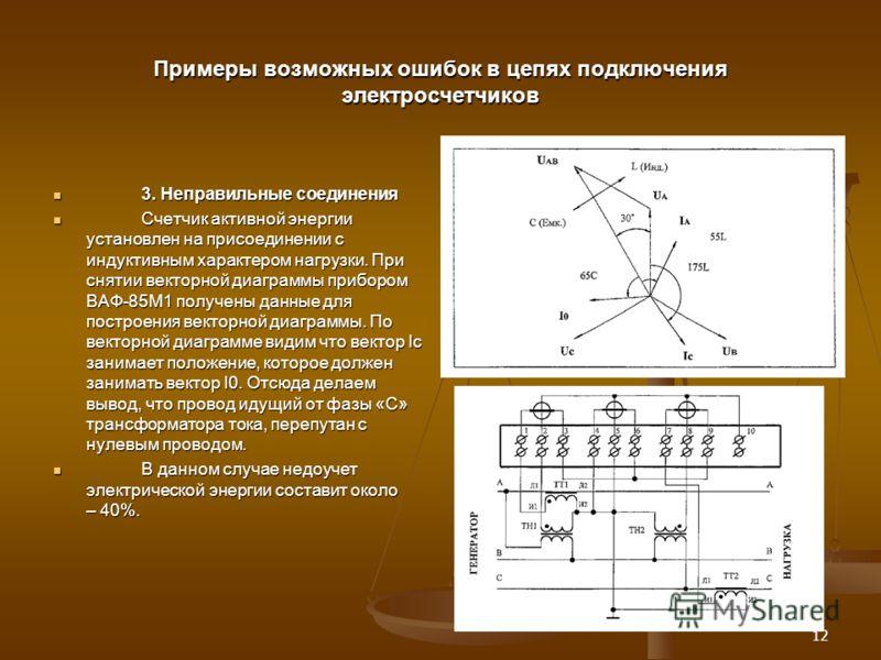 12 Примеры возможных ошибок в цепях подключения электросчетчиков 3. Неправильные соединения 3. Неправильные соединения Счетчик активной энергии установлен на присоединении с индуктивным характером нагрузки. При снятии векторной диаграммы прибором ВАФ