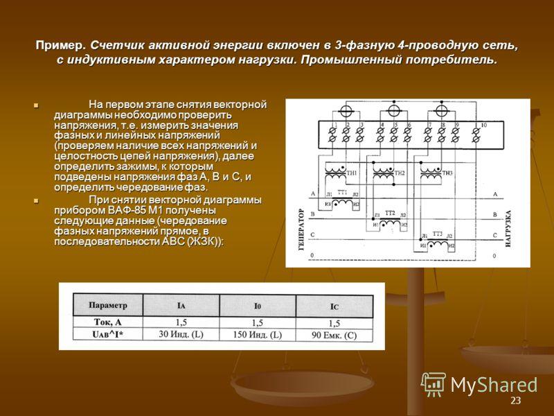 23 Пример. Счетчик активной энергии включен в 3-фазную 4-проводную сеть, с индуктивным характером нагрузки. Промышленный потребитель. На первом этапе снятия векторной диаграммы необходимо проверить напряжения, т.е. измерить значения фазных и линейных
