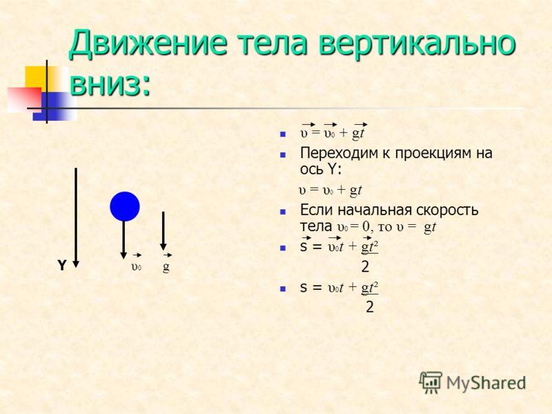 Движение тела вертикально вниз: Y υ 0 g υ = υ 0 + gt Переходим к проекциям на ось Y: υ = υ 0 + gt Если начальная скорость тела υ 0 = 0, то υ = gt s = υ 0 t + gt² 2 s = υ 0 t + gt² 2