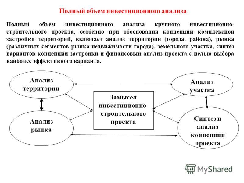 Полный объем инвестиционного анализа Полный объем инвестиционного анализа крупного инвестиционно- строительного проекта, особенно при обосновании концепции комплексной застройки территорий, включает анализ территории (города, района), рынка (различны