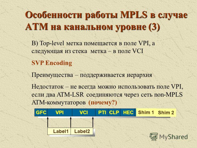 Особенности работы MPLS в случае АТМ на канальном уровне (2) HEC CLP PTI VCI GFC VPI Label Shim 1 Shim 2 Существует несколько методов кодирования стека меток в АТМ А) Метка помещается в поле VPI/VCI SVC Encoding Недостаток – не поддерживается иерархи