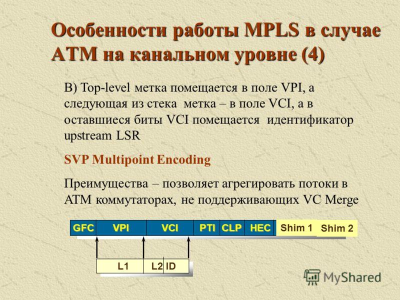 Особенности работы MPLS в случае АТМ на канальном уровне (3) HEC CLP PTI VCI GFC VPI Label1 Label2 Shim 1 Shim 2 B) Top-level метка помещается в поле VPI, а следующая из стека метка – в поле VCI SVP Encoding Преимущества – поддерживается иерархия Нед