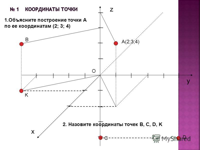A(2;3;4) z x y O | | | ||| | | | | | | | | | | | | | 1.Объясните построение точки А по ее координатам (2; 3; 4) 2. Назовите координаты точек B, C, D, K B C D K