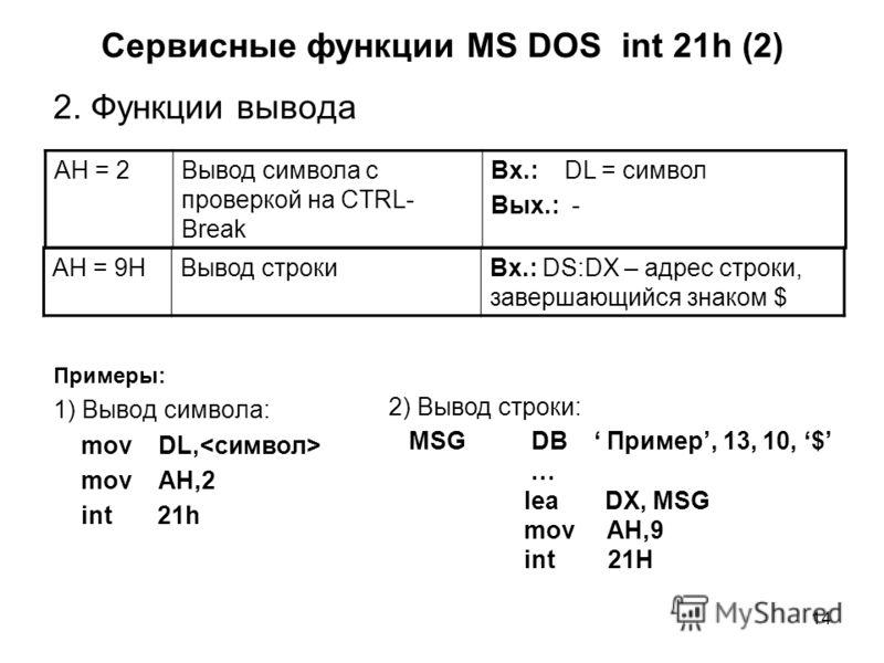 14 Сервисные функции MS DOS int 21h (2) 2. Функции вывода Примеры: 1) Вывод символа: mov DL, mov AH,2 int 21h AH = 2Вывод символа с проверкой на CTRL- Break Вх.: DL = символ Вых.: - 2) Вывод строки: MSG DB Пример, 13, 10, $ … lea DX, MSG mov AH,9 int