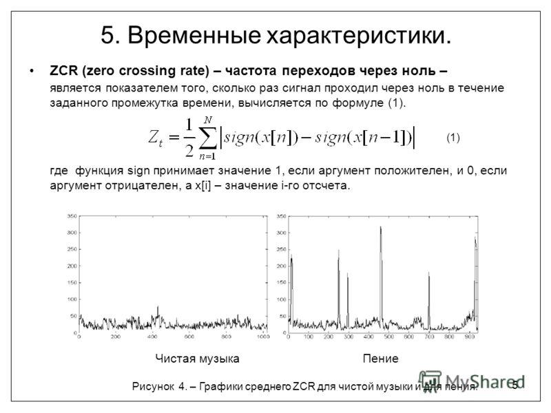 5 5. Временные характеристики. ZCR (zero crossing rate) – частота переходов через ноль – является показателем того, сколько раз сигнал проходил через ноль в течение заданного промежутка времени, вычисляется по формуле (1). (1) где функция sign приним