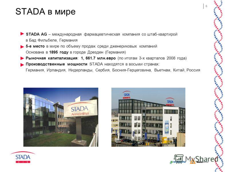 6 STADA в мире STADA AG – международная фармацевтическая компания со штаб-квартирой в Бад Фильбеле, Германия 5-е место в мире по объему продаж среди дженериковых компаний Основана в 1895 году в городе Дрезден (Германия) Рыночная капитализация: 1, 661