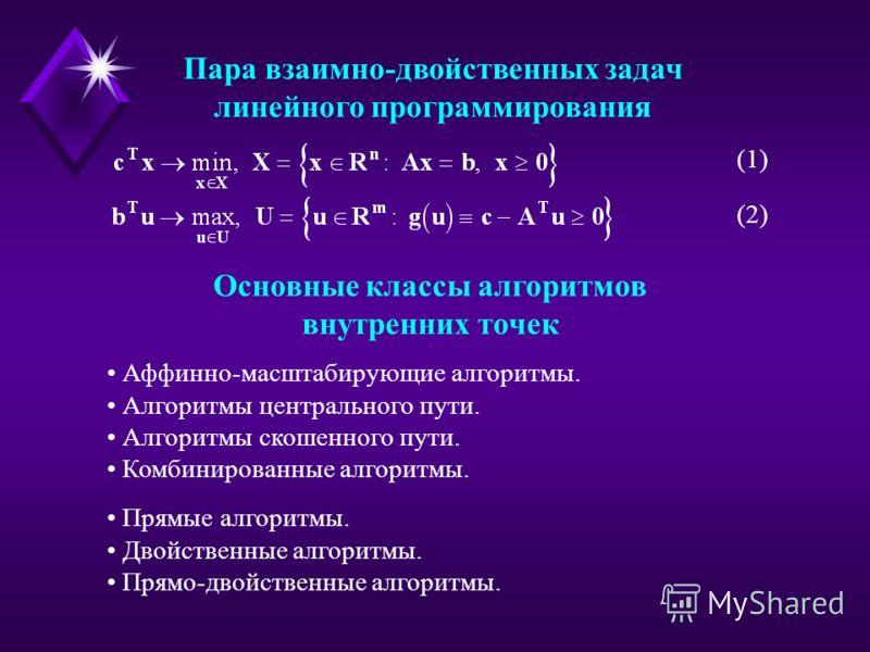 Основные классы алгоритмов внутренних точек (1) (2) Пара взаимно-двойственных задач линейного программирования Аффинно-масштабирующие алгоритмы. Алгоритмы центрального пути. Алгоритмы скошенного пути. Комбинированные алгоритмы. Прямые алгоритмы. Двой