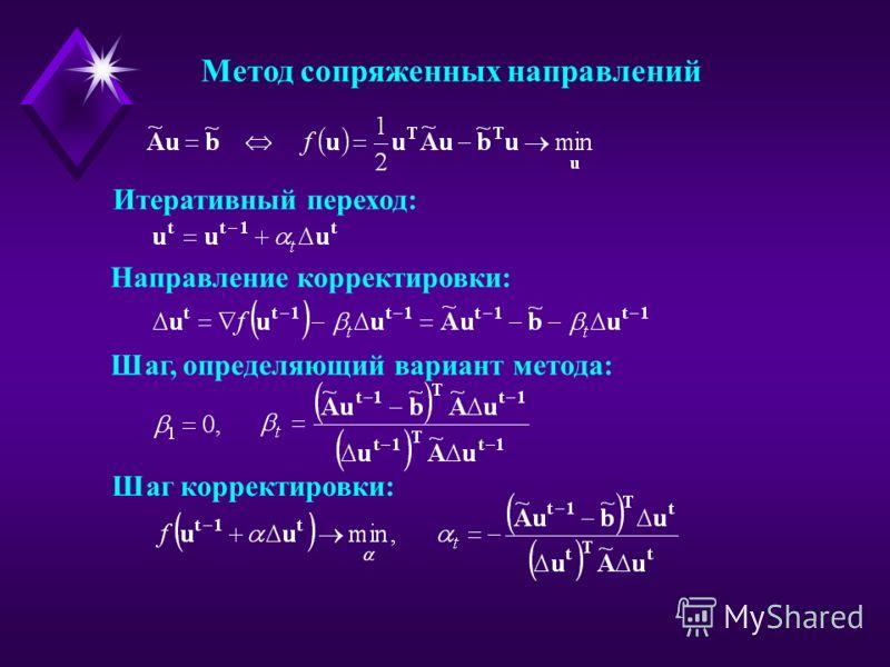 Метод сопряженных направлений Направление корректировки: Шаг, определяющий вариант метода: Итеративный переход: Шаг корректировки: