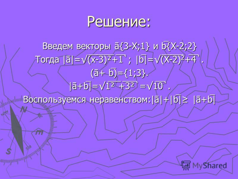 Решение: Введем векторы ā{3-X;1} и b̅{X-2;2} Тогда |ā|=(̅x̅-̅3̅)̅²̅+̅1̅`; |b̅|=(̅X̅-̅2̅)̅ 2 +̅4̅. (ā+ b̅)={1;3}. |ā+b̅|=1̅̅²̅ ̅+̅3̅²̅=1̅0̅. Воспользуемся неравенством:|ā|+|b̅| |ā+b̅|