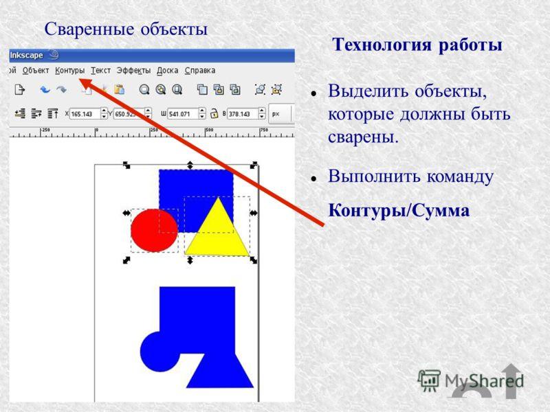 Сваренные объекты Технология работы Выделить объекты, которые должны быть сварены. Выполнить команду Контуры/Сумма