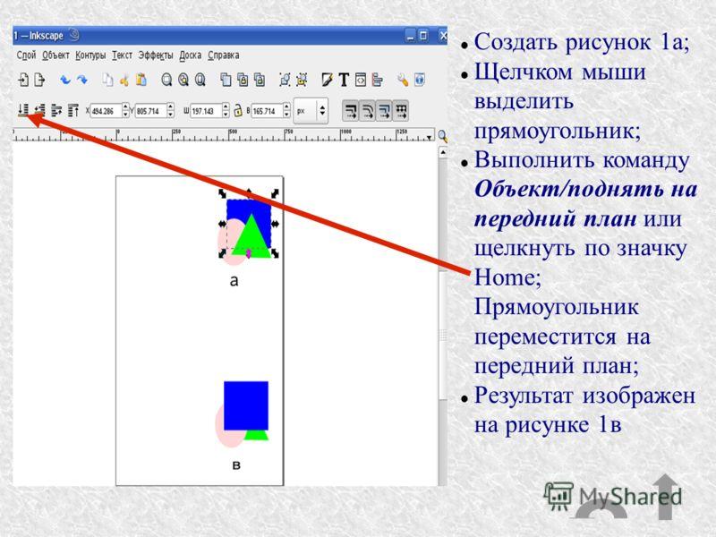 Создать рисунок 1а; Щелчком мыши выделить прямоугольник; Выполнить команду Объект/поднять на передний план или щелкнуть по значку Home; Прямоугольник переместится на передний план; Результат изображен на рисунке 1в