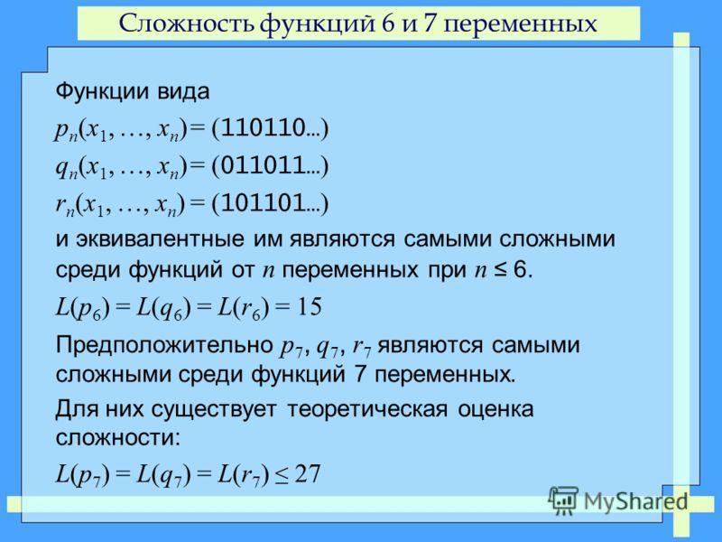 Сложность функций 6 и 7 переменных Функции вида p n (x 1, …, x n )= ( 110110… ) q n (x 1, …, x n )= ( 011011… ) r n (x 1, …, x n )= ( 101101… ) и эквивалентные им являются самыми сложными среди функций от n переменных при n 6. L(p 6 ) = L(q 6 ) = L(r