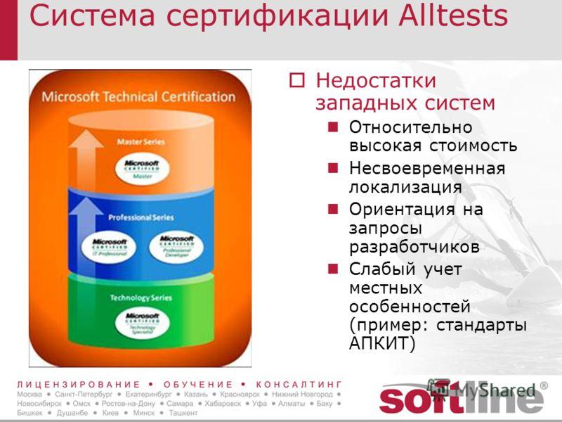 Система сертификации Alltests Недостатки западных систем Относительно высокая стоимость Несвоевременная локализация Ориентация на запросы разработчиков Слабый учет местных особенностей (пример: стандарты АПКИТ)
