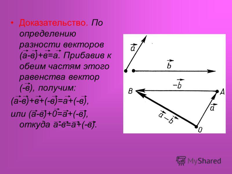 Доказательство. По определению разности векторов (а-в)+в=а. Прибавив к обеим частям этого равенства вектор (-в), получим: (а-в)+в+(-в)=а+(-в), или (а-в)+0=а+(-в), откуда а-в=а+(-в).