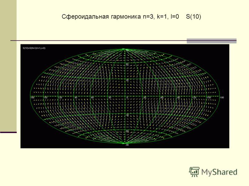 Сфероидальная гармоника n=3, k=1, l=0 S(10)
