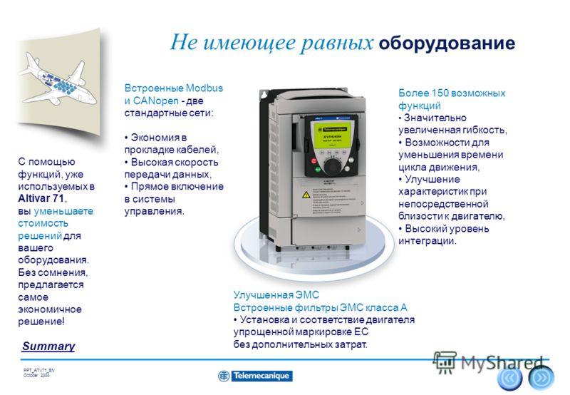 17 Summary PPT_ATV71_EN October 2004 Не имеющее равных оборудование Улучшенная ЭМС Встроенные фильтры ЭМС класса А Установка и соответствие двигателя упрощенной маркировке ЕС без дополнительных затрат. Более 150 возможных функций Значительно увеличен