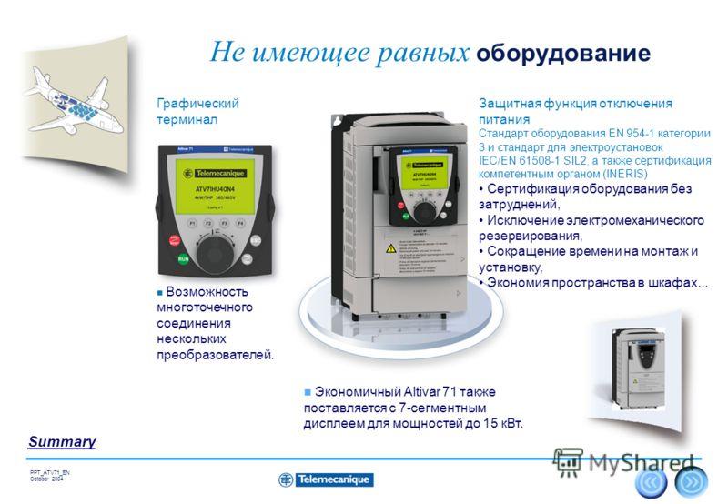 18 Summary PPT_ATV71_EN October 2004 Не имеющее равных оборудование Защитная функция отключения питания Стандарт оборудования EN 954-1 категории 3 и стандарт для электроустановок IEC/EN 61508-1 SIL2, а также сертификация компетентным органом (INERIS)