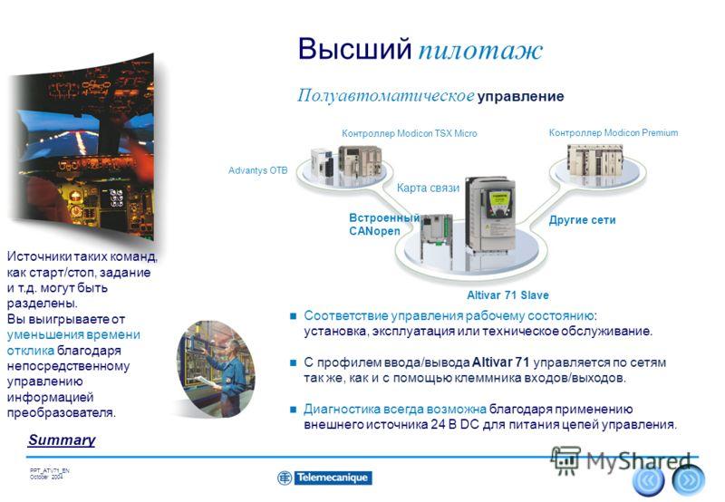 22 Summary PPT_ATV71_EN October 2004 Полуавтоматическое управление Высший пилотаж Соответствие управления рабочему состоянию: установка, эксплуатация или техническое обслуживание. С профилем ввода/вывода Altivar 71 управляется по сетям так же, как и