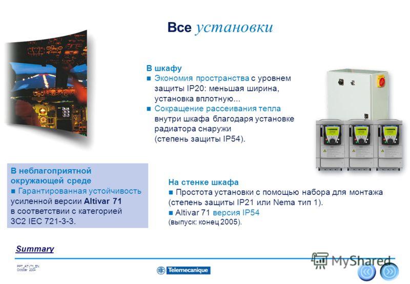 24 Summary PPT_ATV71_EN October 2004 Все установки В шкафу Экономия пространства с уровнем защиты IP20: меньшая ширина, установка вплотную... Сокращение рассеивания тепла внутри шкафа благодаря установке радиатора снаружи (степень защиты IP54). На ст