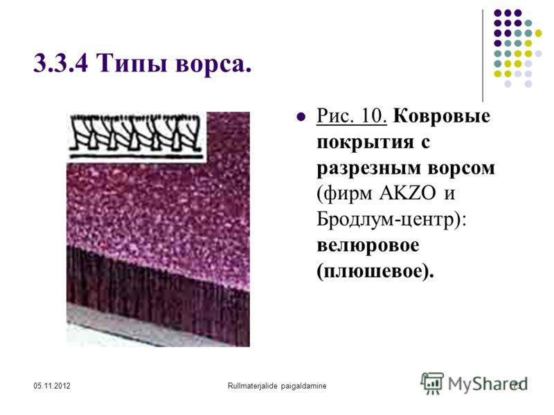 05.11.2012Rullmaterjalide paigaldamine73 3.3.4 Типы ворса. Рис. 10. Ковровые покрытия с разрезным ворсом (фирм AKZO и Бродлум-центр): велюровое (плюшевое).