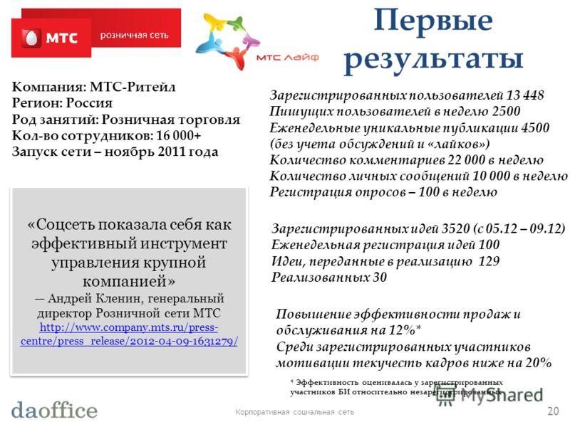 «Соцсеть показала себя как эффективный инструмент управления крупной компанией» Андрей Кленин, генеральный директор Розничной сети МТС http://www.company.mts.ru/press- centre/press_release/2012-04-09-1631279/ «Соцсеть показала себя как эффективный ин