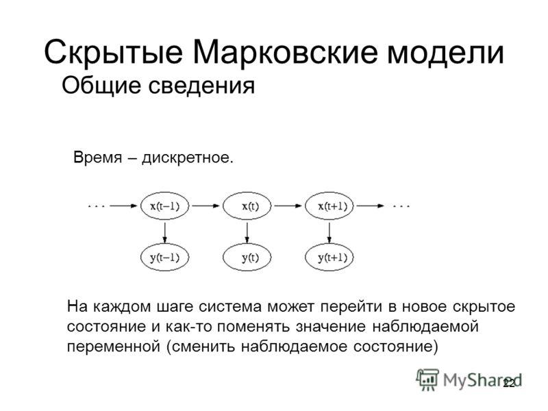 22 Скрытые Марковские модели На каждом шаге система может перейти в новое скрытое состояние и как-то поменять значение наблюдаемой переменной (сменить наблюдаемое состояние) Время – дискретное. Общие сведения