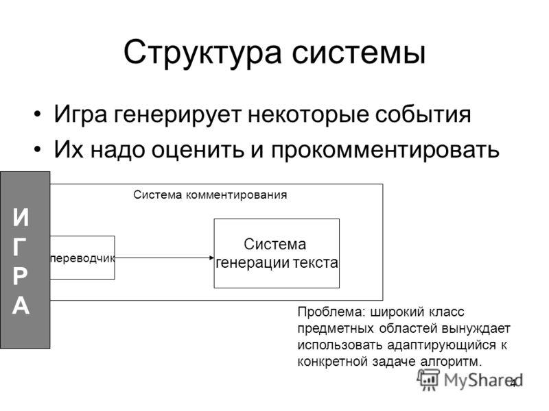 4 Структура системы Игра генерирует некоторые события Их надо оценить и прокомментировать Проблема: широкий класс предметных областей вынуждает использовать адаптирующийся к конкретной задаче алгоритм. переводчик Система генерации текста ИГРАИГРА Сис
