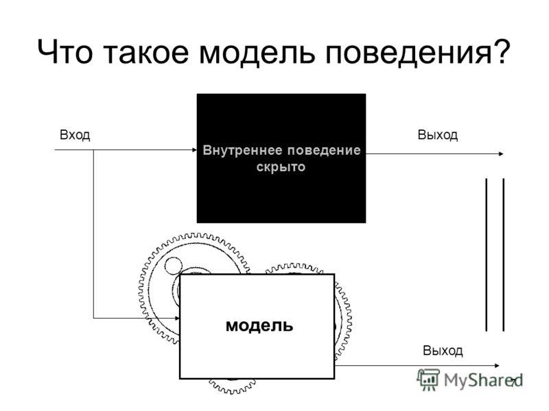 7 Что такое модель поведения? Внутреннее поведение скрыто Вход модель Выход